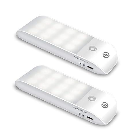 LED Nachtlicht mit Bewegungsmelder OMERIL LED Licht [2 Stück] USB Aufladbare Nachtlampe Schranklicht mit 3 Modi (Auto/ON/OFF)