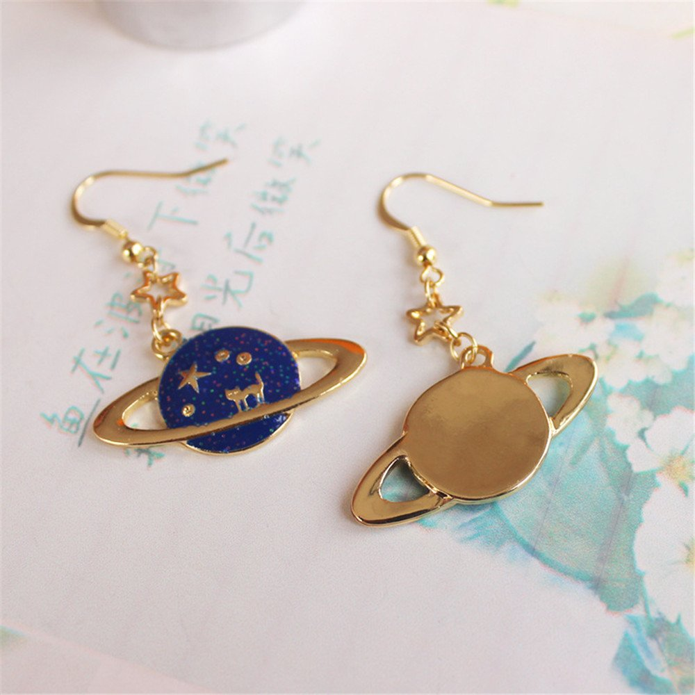 Romantic Fantasy Universe Stars Blue Sky Dangle Cute Cat Alloy Earrings For Women Girls Fashion Jewlery Gift