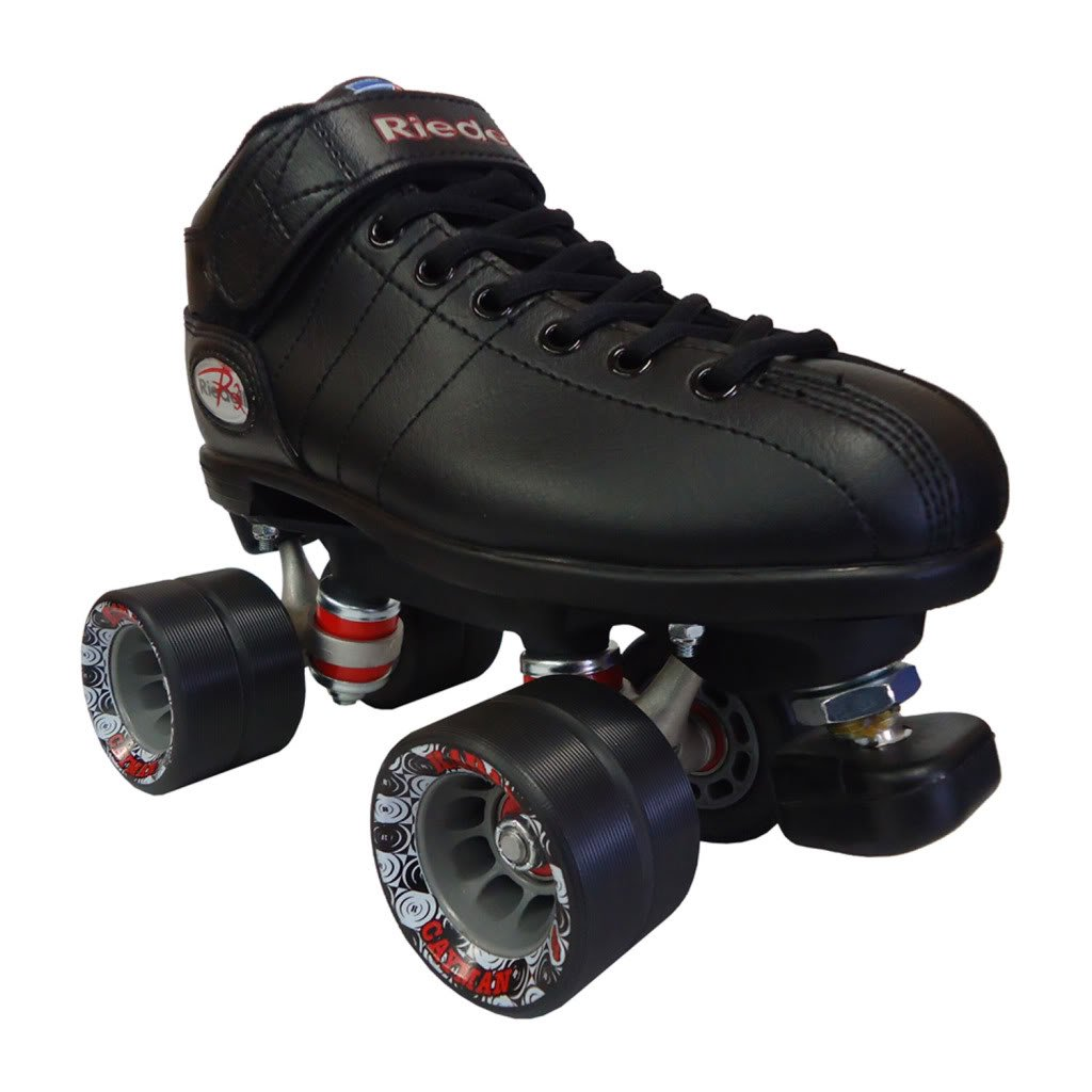 Riedell R3 Black Speed Skates - R3 Black Quad Speed Roller Derby Skate