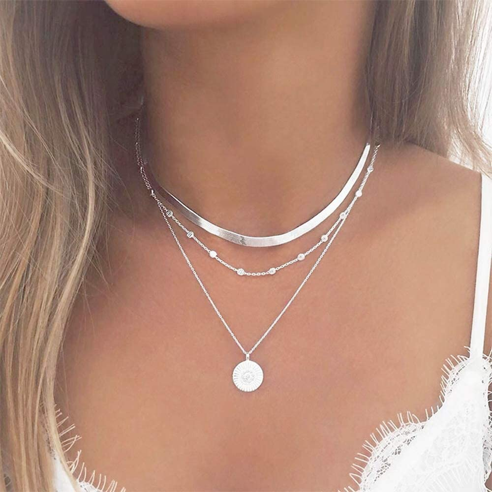Ceqiny Multi-layer Choker Necklace Bead Round Coin Necklace Pendant Adjustable Chain Necklace Long Chain Tassels 3-Layer Charm Pendant Choker Friendship Necklace Gift for Women Girls, Silver: Clothing