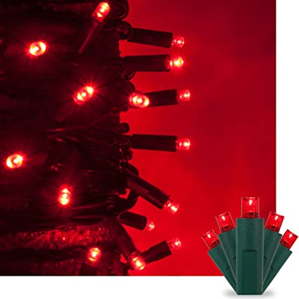 Amazon.com : Red LED Christmas Mini String Light Set, 50 5mm Lights ...