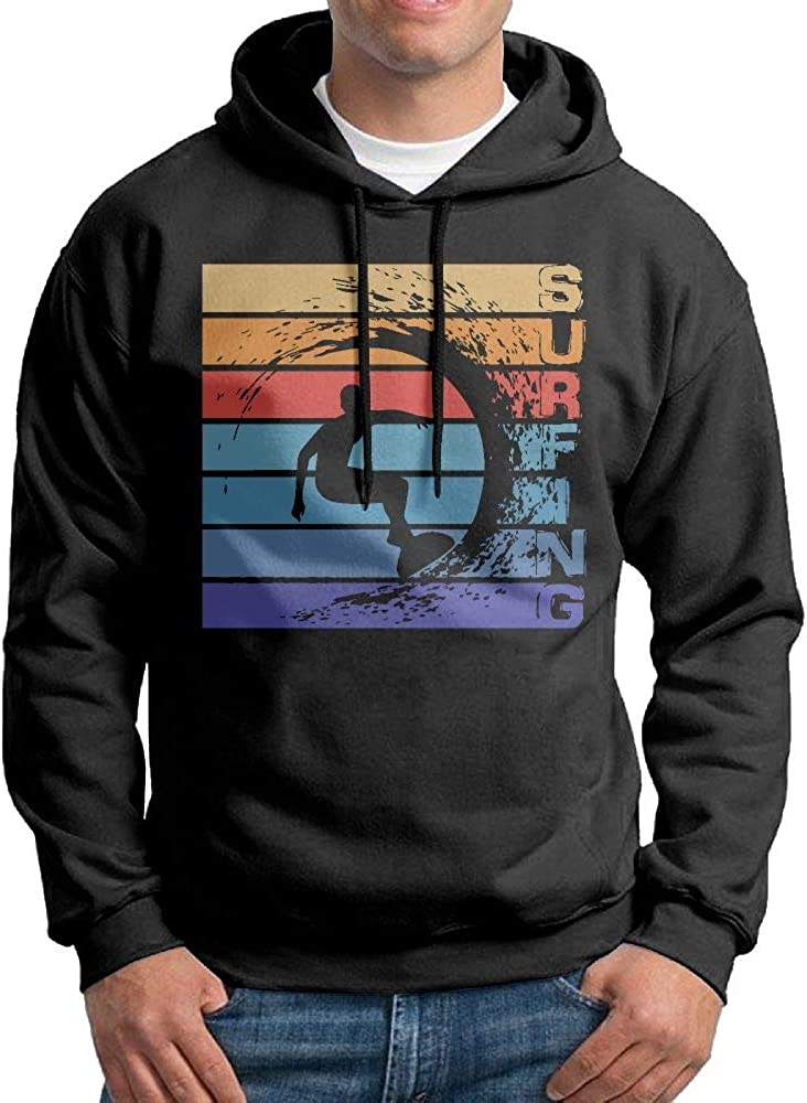 NWYYZDD Big Mens Surfing Retro Patterns Print Athletic Pullover Tops Fashion Sweatshirts