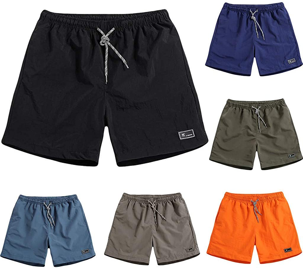 STORTO Mens Solid Fashion Beach Shorts Plus Size Swimming Sport Quick Dry Casual Pockets Shorts
