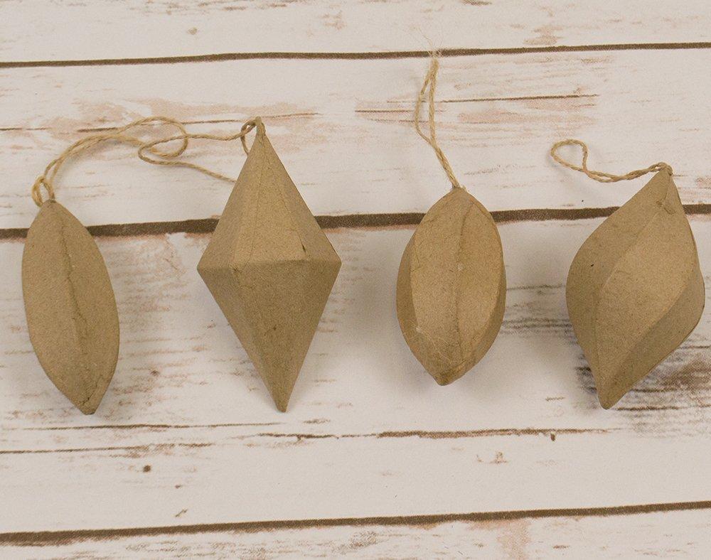 4 Paper Mache Geometric Hanging Christmas Baubles | Christmas Papier Mache Crafty Capers