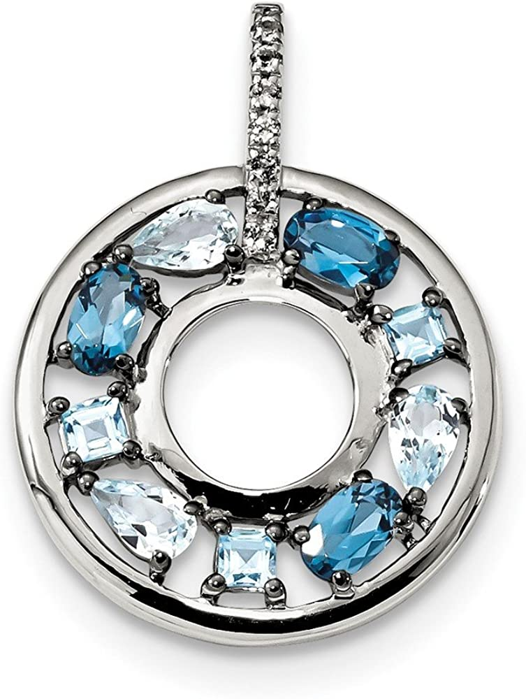 Circle Pendant 925 Sterling Silver Blue Topaz /& CZ Cubic Zirconia
