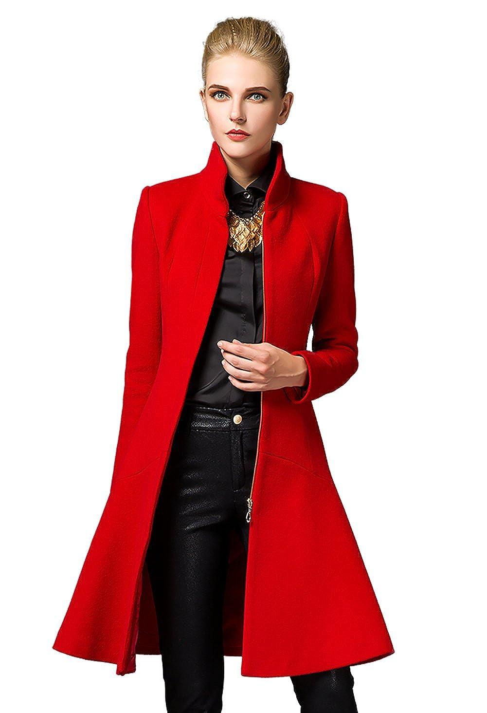 Amazon.com: Shmily Girl Womens Winter Slim Collar Mid-Length Woolen Coat Jacket Overcoat: Clothing
