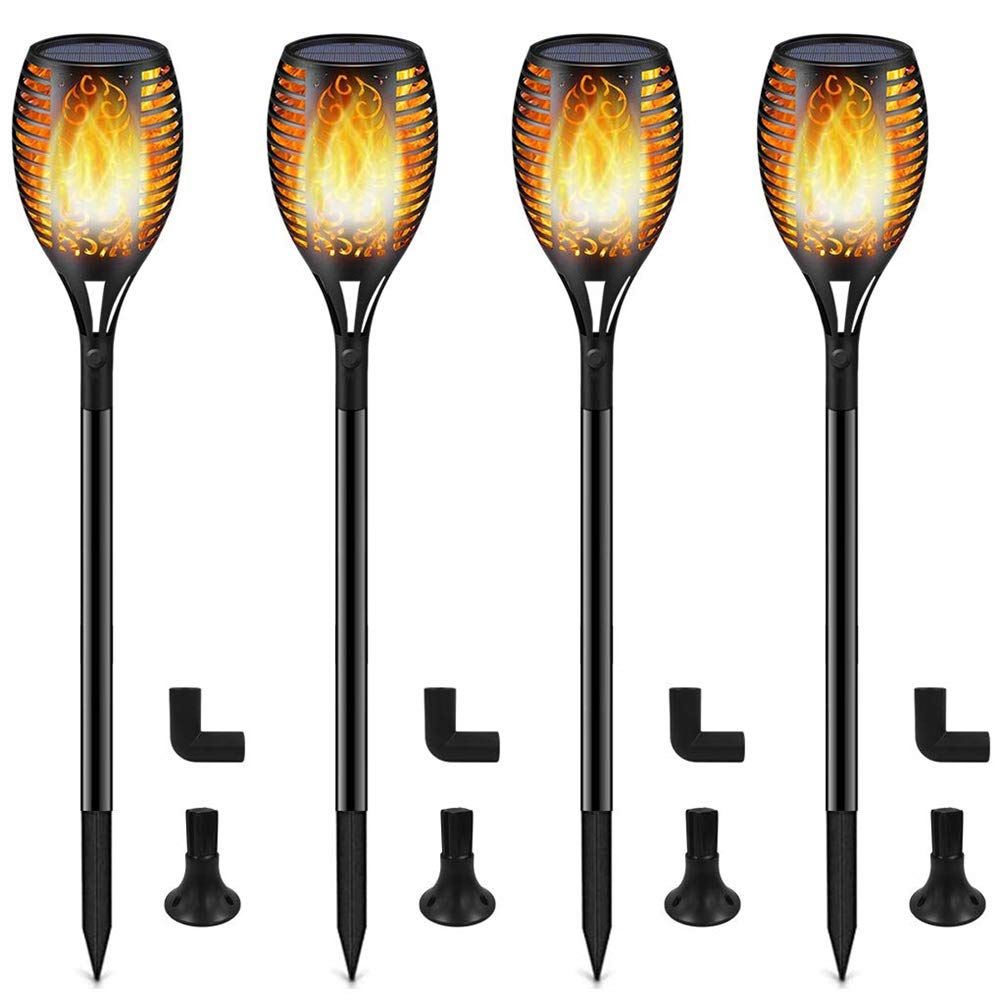 HuntGold Solar Torch Light 96 LED 4pcs 3-Lighting Modes Dancing Flickering Flame Lamp Waterproof Durable for Home