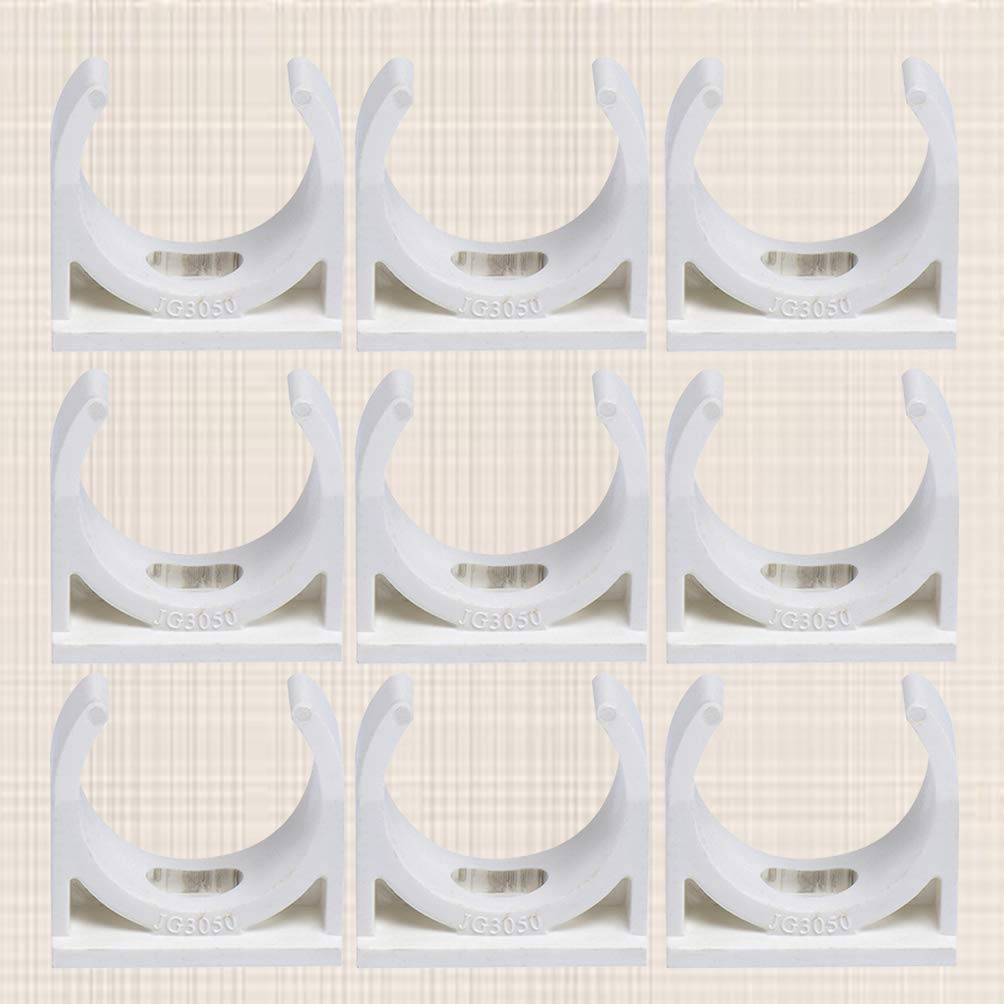 blanco DOITOOL 50 piezas Abrazadera De Tubo En Forma De U Clip De PVC De Tubo Para Montar En Pared Suministro De Agua 25mm