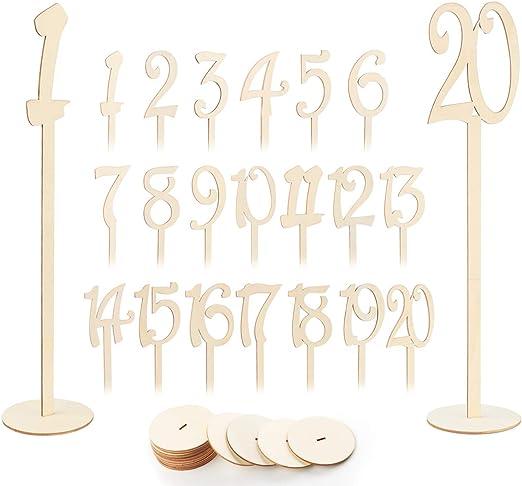 Absofine 1 – 20 números de Mesa para Boda, Madera, Soporte para ...