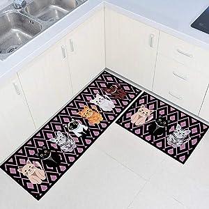 "Set of 2 Non-Slip Kitchen Mat Rubber Backing Doormat Runner Rugs (15""x47""+15""x23"") (Color 8 Grey Cat)"