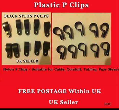 9 mm 100 Stück schwarz Nylon Kunststoff P Clips Verschlüsse für ...