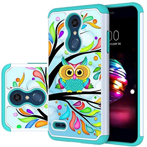 LG K30 Case, LG Phoenix Plus/LG Harmony 2/LG K10 2018/LG Premier Pro Case,MAIKEZI Hybrid Dual Layer TPU Plastic Phone Case for LG K10 Plus/LG K10 alpha 2018(Green Owl)