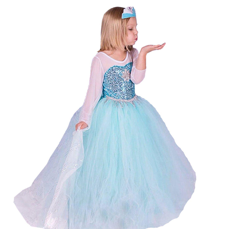 ELSA & ANNA Mädchen Prinzessin Kleid Verrücktes Kleid Partei Kostüm ...