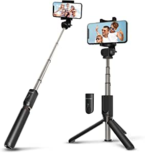 Wireless Selfie Stick Tripod with Remote for iphoneX 6 6s 7 8 plus Android Samsung Galaxy S7 S8 Plus Edge BlitzWolf 3 in 1 Mini Pocket Extendable Monopod 3.0 Aluminum Alloy 360 Degree Rotation Best Gifts for AFL Grand Final Day