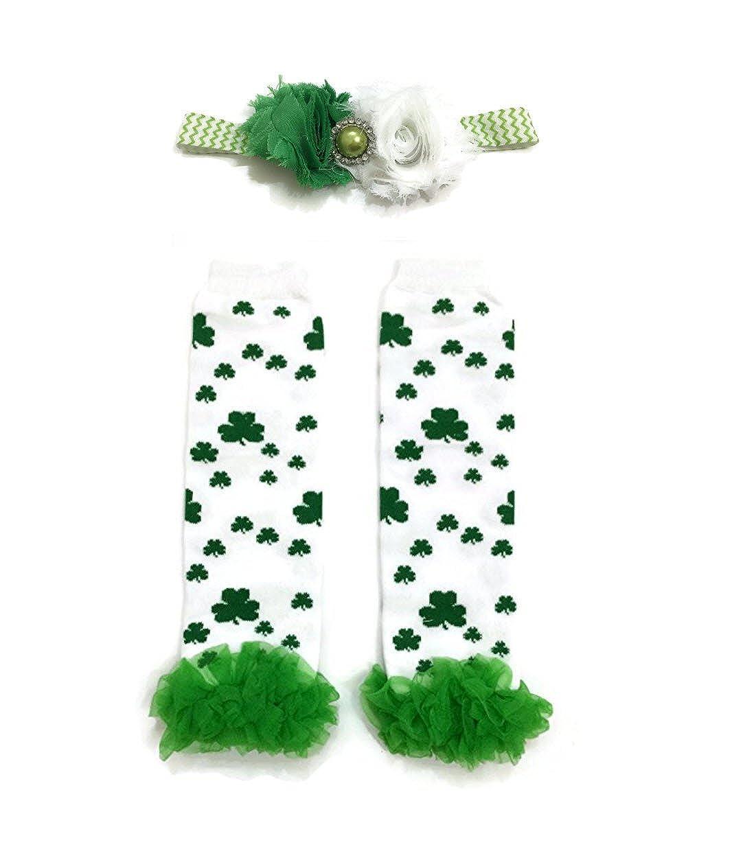 Rush Dance Big /& Small Shamrock Ruffles St Patricks Day Baby Leg Warmer Headband