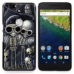 - Skull Biker Drawing Black Skeleton - - Snap-On Rugged Hard Cover Case Funny HouseFOR Huawei Nexus 6P