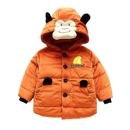 GoodLock Baby Boys Girls Coats Toddler Cartoon Long Sleeve Monkey Hoodie Winter Warm Clothes Coat (