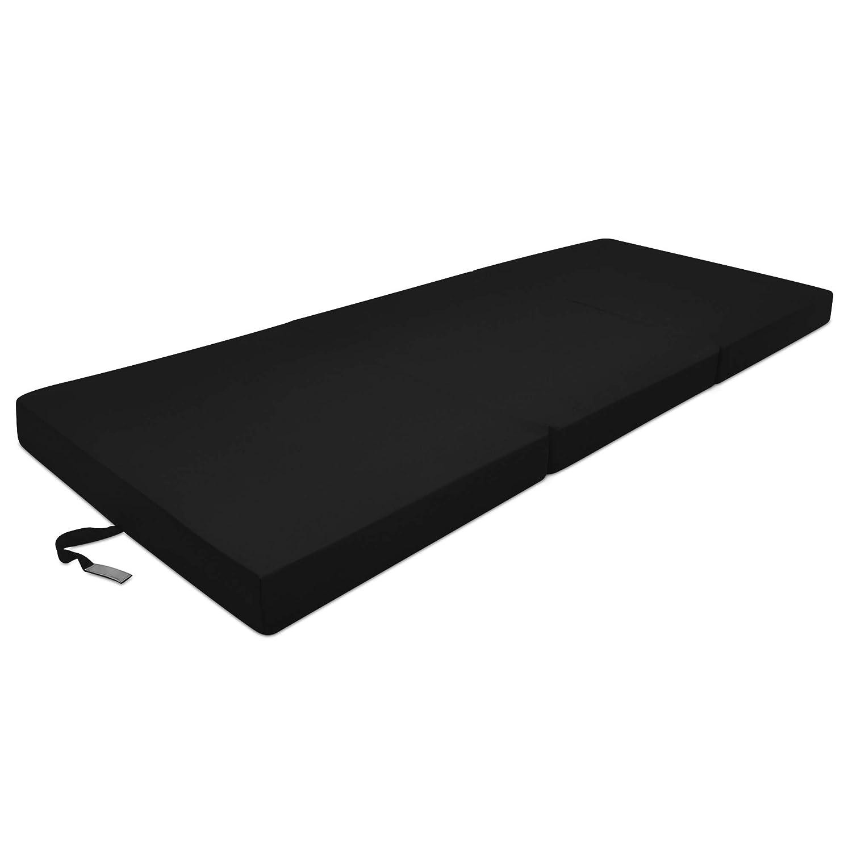 Beautissu Cómodo colchón Plegable Campix Auxiliar futón 80 x 195 x 10 cm Ahorra Espacio Tela Microfibra Negro