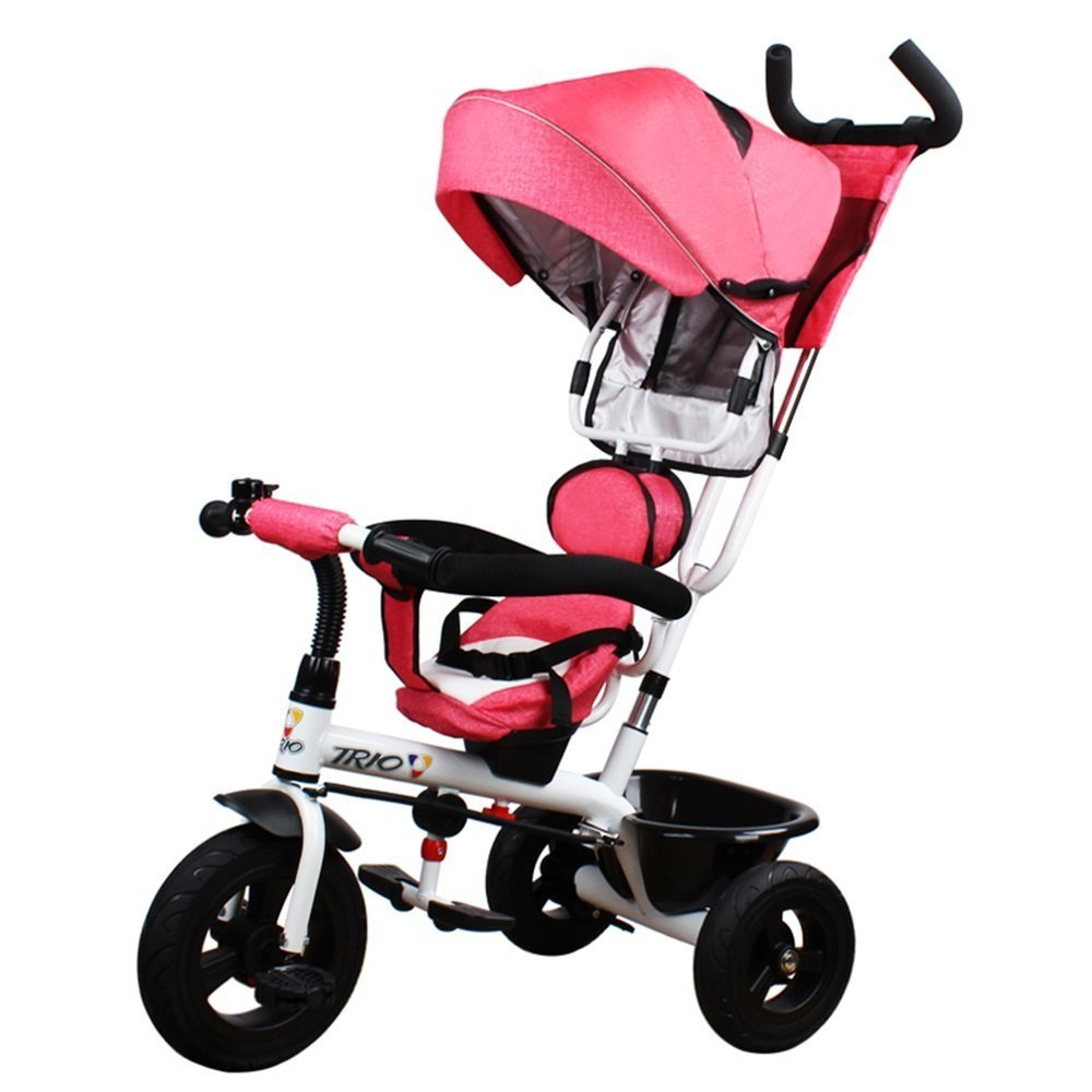 DACHUI niños triciclo, bicicleta, 1-3-5 años puede girar para bebé cochecito de bebé, carro, bicicleta (Color : Rosa)