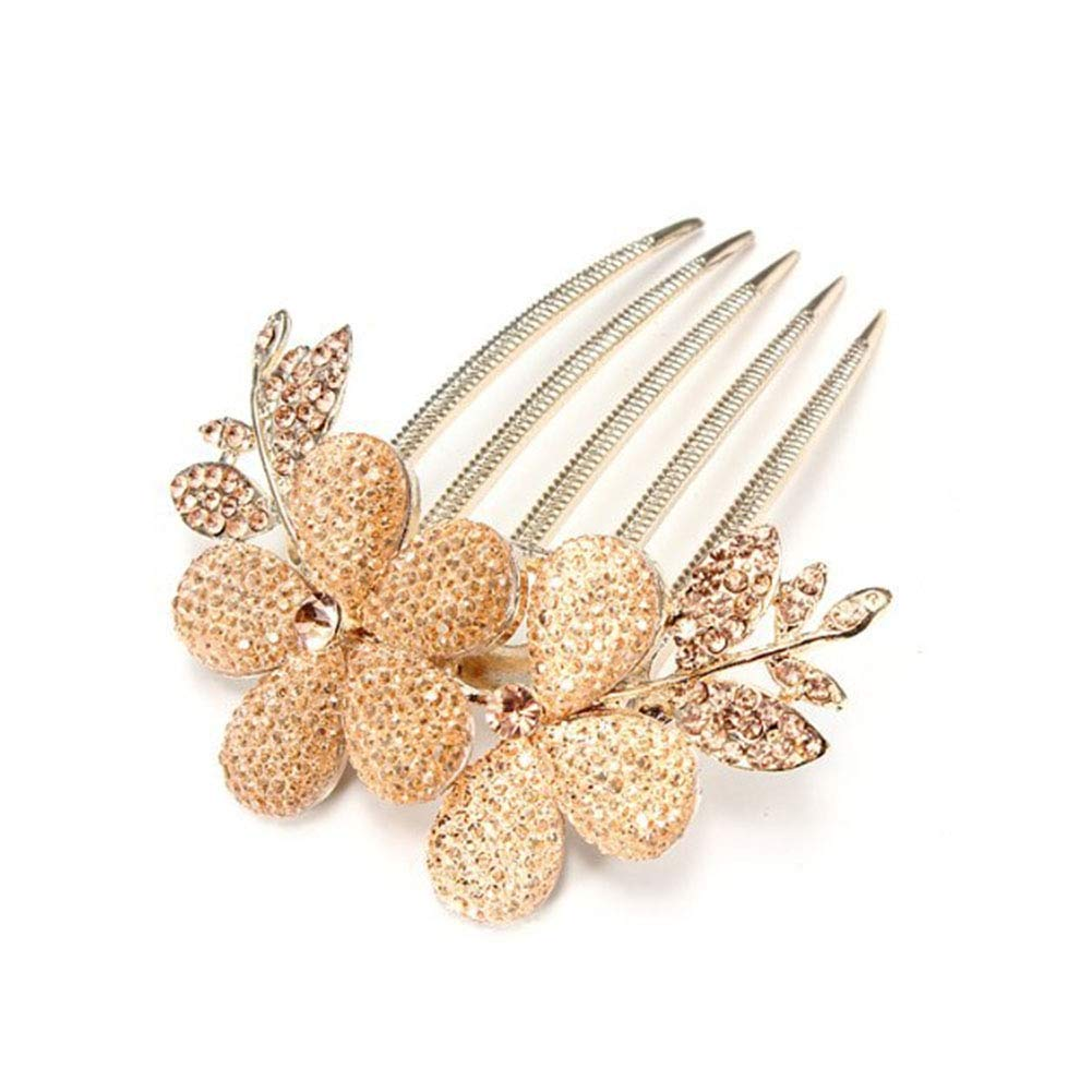 Women's Charming Fashion Crystal Flower Pattern Hair Decorations Alloy Rhinestone Barrette Hair Clip Comb Golden Ebeauty