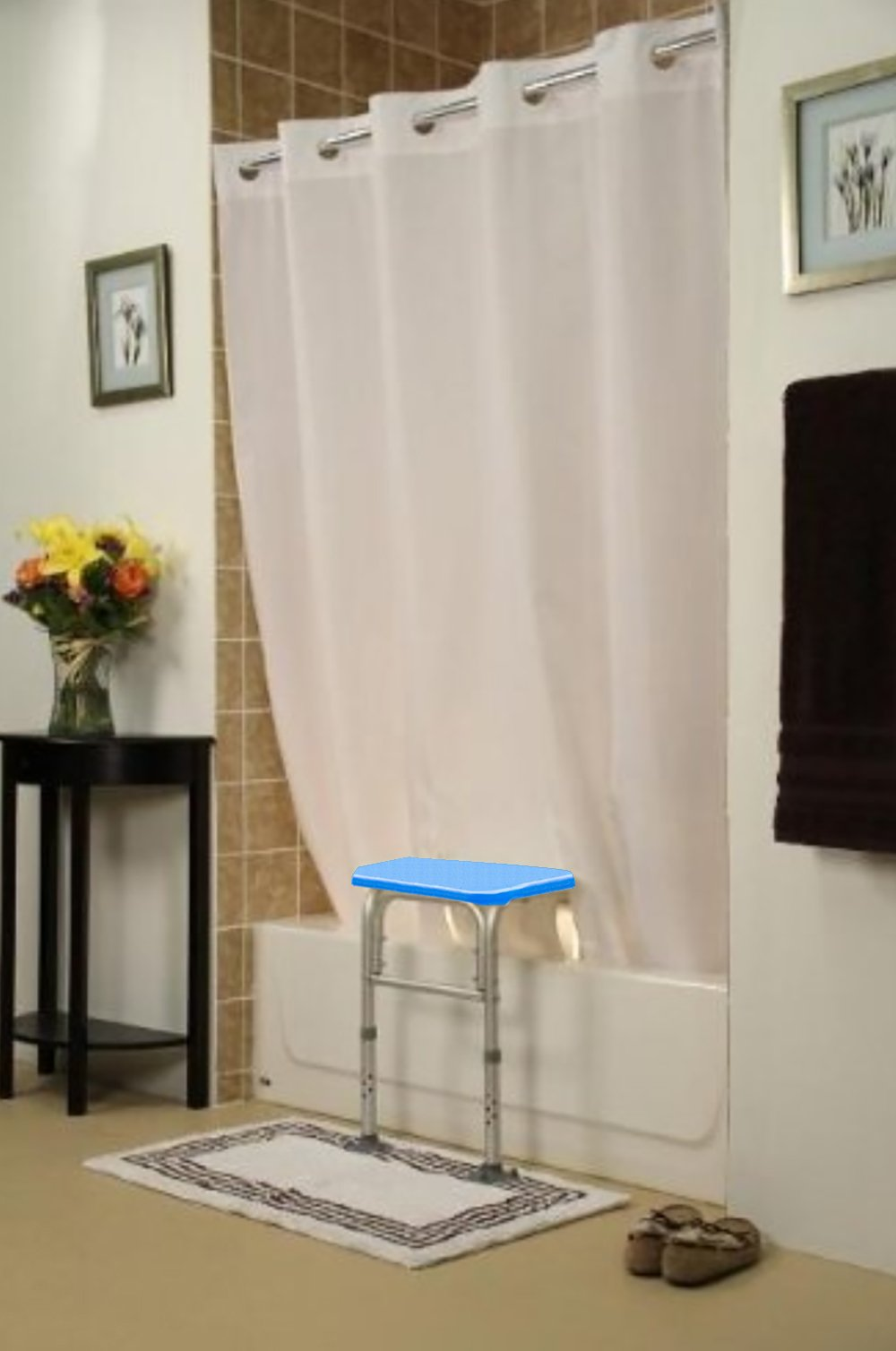 BenchMate Split Shower Curtain for Bath Transfer Benches - Beautiful Designer Fabric, Premium Hookless Quick-Attach System, Designed Specifically to Help Keep Water Off The Floor. (Chamonix White)