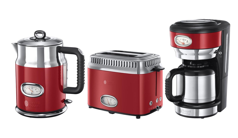 Kaffeemaschine Toaster Retro Ribbon Red Serie in rot//Edelstahl Wasserkocher Russell Hobbs Fr/ühst/ück-Set 3-tlg