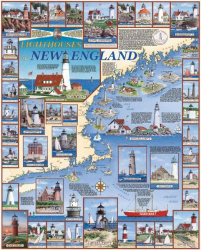 White Mountain Puzzles Lighthouses of New England - 1000 Piece Jigsaw Puzzle ()