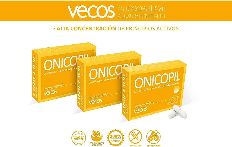 Onicopil Vecos para el fortalecimiento de cabello y uñas - Suplemento con aminoácidos, oligoelementos esenciales y vitaminas del grupo B y vitamina C ...