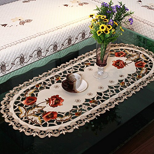 Ihappy Peony Flower Embroidered Fabric Cutwork Oval Tablecloth 16x33 Inches