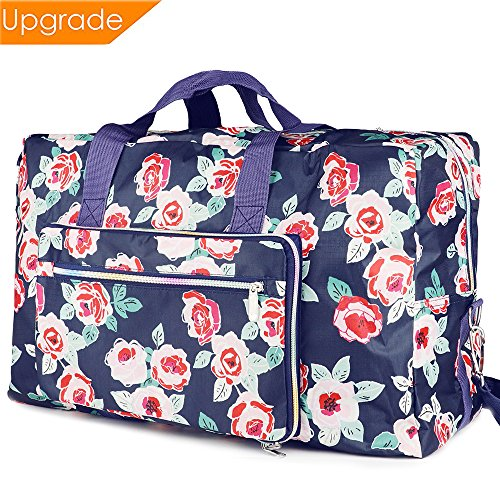 Fordicher Women Nylon Foldable Large Travel Duffel Bag Travel Tote Luggage Bag for Vacation (Rose) from Fordicher