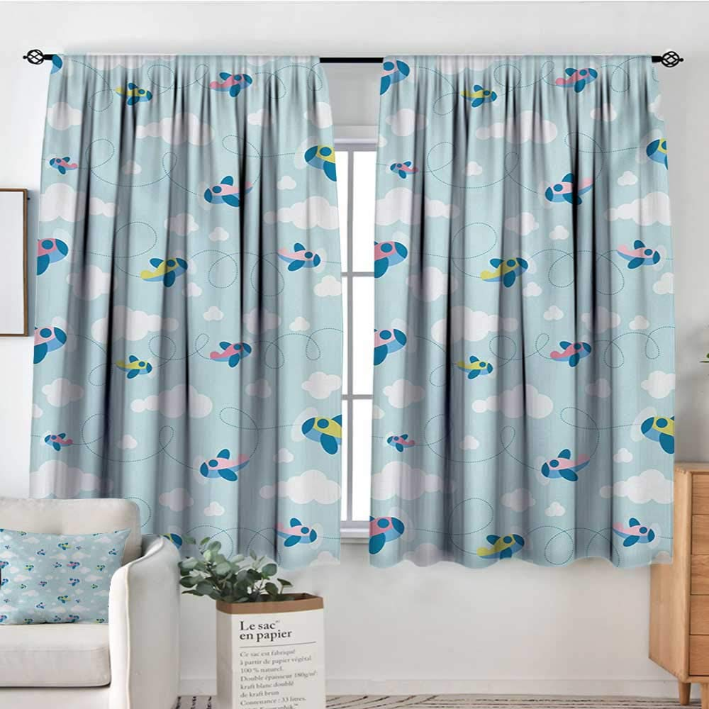 color15 42 W x 63 L Elliot Dgoldthy Living Room Curtains Kids,Cartoon Style Nautical Icons and Animals Maritime Sea Life Pirates Joyful Collection,Multicolor,Darkening and Thermal Insulating Drapes 42 x54
