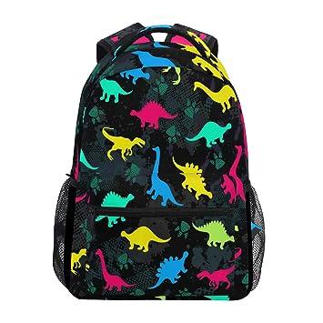 Linda mochila de dinosaurio para computadora portátil, amarillo, rojo, verde, azul,