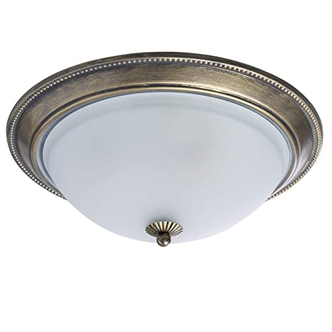 MW-Light 450015503 Lámpara de Techo, Plafón de Techo, Shabby Chic, Redonda, Metal Color Bronce Antiguo, Moderna, Rústica, Plafón de Vidrio Mate, Para ...