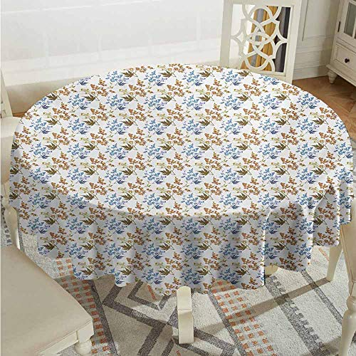 XXANS Spill-Proof Table Cover,Garden Art,Rustic Theme with Leafy Branches Autumn Season Theme Rural Countryside Pattern,for Events Party Restaurant Dining Table Cover,70 INCH,Multicolor ()