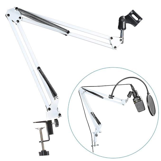 Neewer alta calidad blanco Broadcasting Studio Micrófono suspensión Boom Scissor brazo soporte, extendido hasta 80 cm (31,5 cm): Amazon.es: Instrumentos ...