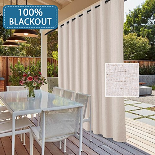 (H.VERSAILTEX 100% Blackout Patio Door Linen Curtains for Sliding Door- Extra Long and Wide Blinds Thermal Insulated Waterproof Textured Linen Drapes for Glass Door (Natural, 100