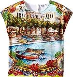 Dolce & Gabbana Kids Girls' River Print T-Shirt (Little Kids), Multi Print, 4T (Toddler)