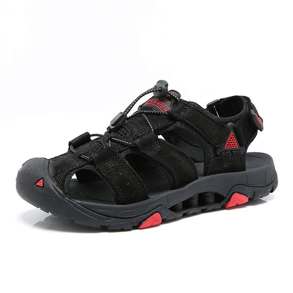 Gungun Sandales d'été pour Hommes, Chaussures en Daim, Chaussures de Plage décontractées, Chaussures de Sport en Plein air, Chaussures de randonnée noir
