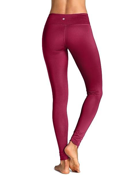 CRZ YOGA - Mallas Largos Leggins Deportivos con Bolsillo Running Para Mujer Borgoña XL: Amazon.es: Ropa y accesorios