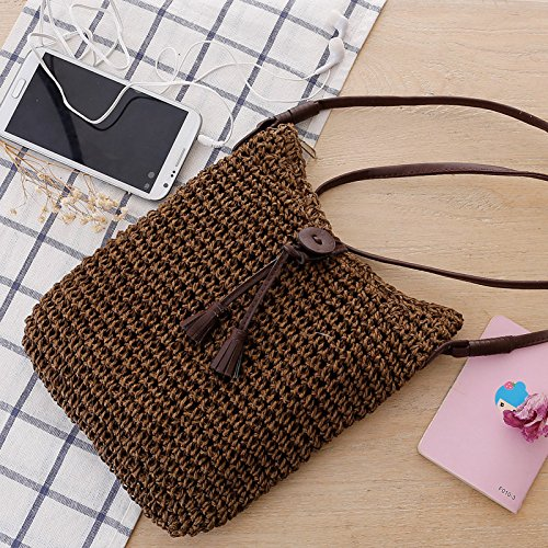 Shoulder Summer Weave Bag Beach Bag Straw Handbags Women's Crossbody Brown Purse wqUPPB