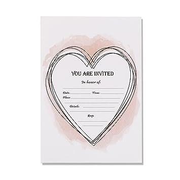 Amazoncom 30 Invitations With Envelopes Heart Design Wedding