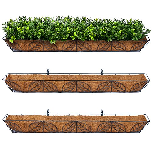 3pk Arcadia Coco Fiber Lined Wall Trough Wire Metal Leaf Basket Planter Plant (Leaf Wall Planter)