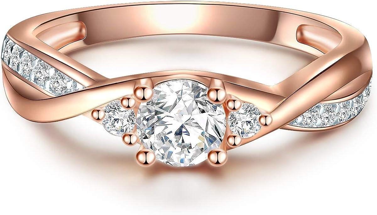 Wickelring in Rosegold-Farben Ehering in Solit/är-Ring Look Tresor 1934 Damen-Ring Verlobungsring Sterling Silber 925 ros/évergoldet mit Zirkonia in Brillant-Schliff