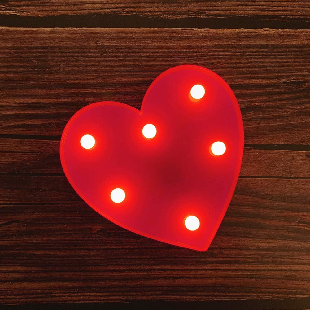 Amazon Com Mumuxi Led Marquee Lights Heart Shaped Led Plastic Light Up Sign For Night Light Wedding Birthday Party Battery Powered Christmas Lamp Home Bar Decoration Home Kitchen