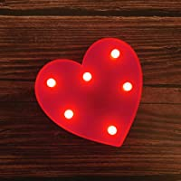 MUMUXI LED Marquee Lights Heart Shaped LED Plastic Light Up Sign for Night Light Wedding Birthday Party Battery Powered Christmas Lamp Home Bar Decoration
