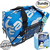 Polar Bear Coolers H2O Waterproof Cooler (Size 48 Pack) Ice Blue & Fit & Fresh Cool Coolers Slim Ice 4-Pack (Bundle)