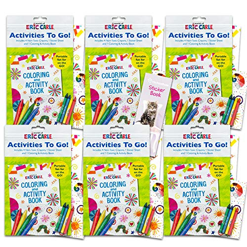 Caterpillar Party Supplies (World of Eric Carle Coloring Pack Party Favors ~ Set of 6 Eric Carle Play Packs with Stickers, Crayons and Coloring Activity Book in a Resealable)