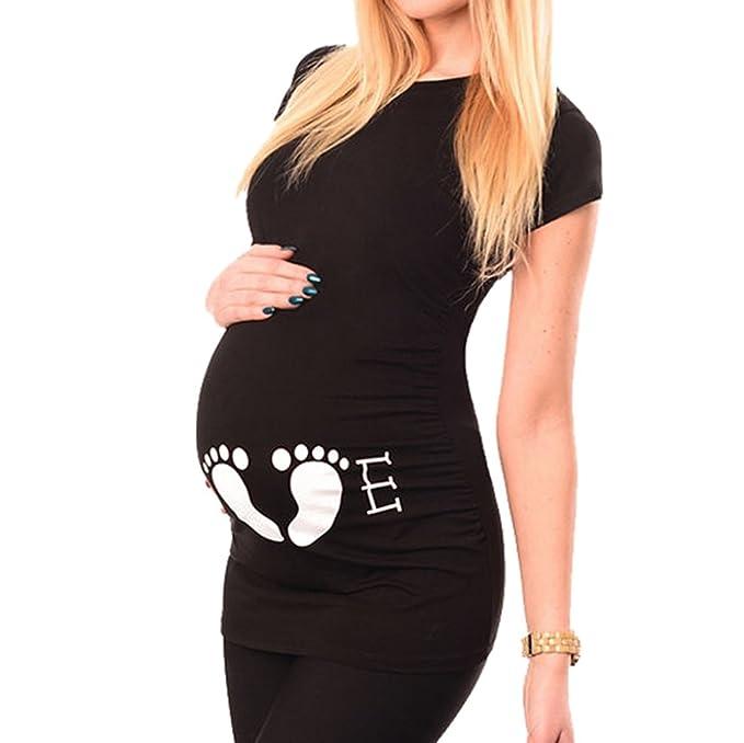 MEIHAOWEI Ropa de Maternidad Mujeres Embarazadas Casual Tops O-Veck Camisetas Manga Corta Negro S