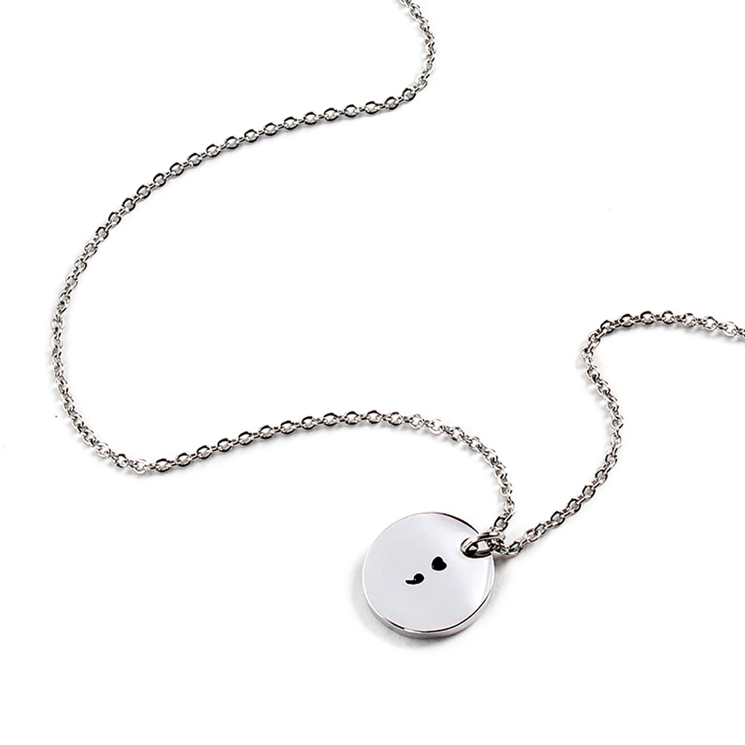 Yolanda Stainless Steel Heart Semicolon Necklace Motivational Inspirational Gift Hand Stamped Jewelry