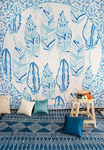 Blue Feather Mandala Bedding with Pillow Covers, Indian Bohemian Hippie Tapestry Wall Hanging, Hippy Blanket or Beach Throw, Mandala Ombre Bedspread for Bedroom, Blue Queen Size Boho Tapestry by Folkulture (Image #1)